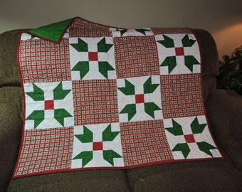 "Christmas Quilt with Red and Green Plaid Blocks and also Green/Red Holly-Looking Blocks   42"" x 42"""