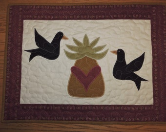 "Mini Flannel Quilt with Prim Pineapple and Two Crows   26"" x 19"""