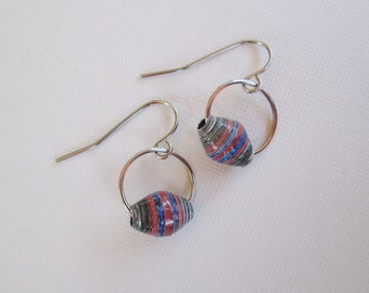 CLEARANCE - Handmade Paper Bead Earrings - Red, Blue, and Black