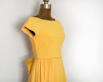 1960s Mustard Formal Maxi Dress with Boat Neck and Cap Sleeves