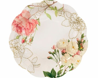 12 charm Floral Blossom & Brogues party plates.