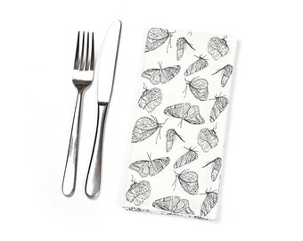 Cloth napkin with butterflies, 100% organic cotton, black and white