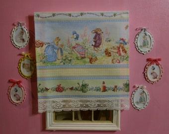 Dollhouse miniature Beatrix Potter window blind, 1:12 SCALE.