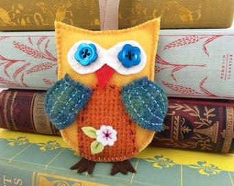 yellow, rust and blue wool felt owl ornament