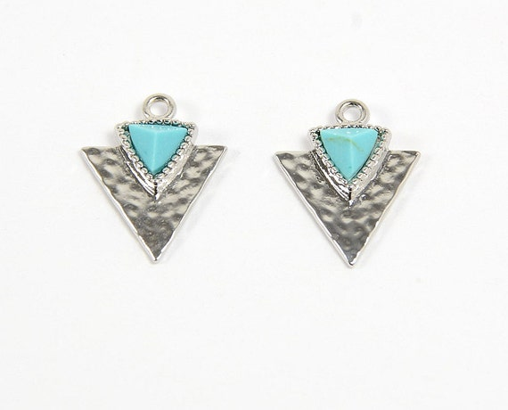 Turquoise Gemstone Triangle Charm/ Arrow Spear Pendant with Turquoise in Anti-tarnish Rhodium Plating  - 2 pcs/ order