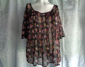 Vintage blouse black chiffon with pink  flowers large