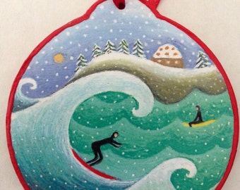 Surfers at the Point ornament