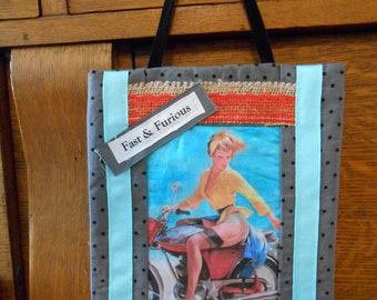 Fabric Wall Hanging with Motorcycle Pin Up Girl Art Block Print