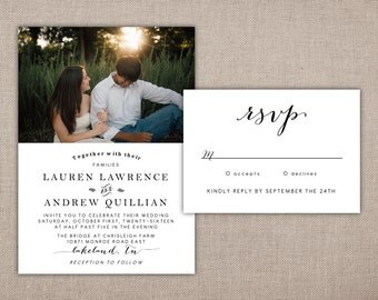 WEDDING INVITATION - Printable Suite, Wedding Invitation with Photo and Rsvp, Rustic Wedding Invite with Picture, Modern Wedding Invitation