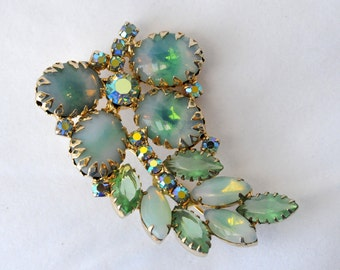 Vintage Variegated Green Light Blue and Gold Rhinestone Brooch, 218