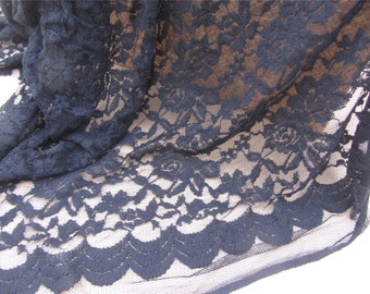 Black Rose lace fabric White Lace / White Stretch lace Fabric / off White Stretch Lace / Floral lace fabric/splashy prints lace/dots lace