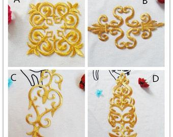 Gold patch, Gold applique ,DIY patch --2pcs