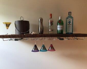 Reclaimed Wood Bar Shelf & Stemware Rack