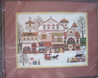 "Cross Stitch Kit - Victoria Shoppes - from the Charles Wysocki Collection - Dimensions #3528 - 16"" x 13""  - NIP NEW - Vintage 1982"