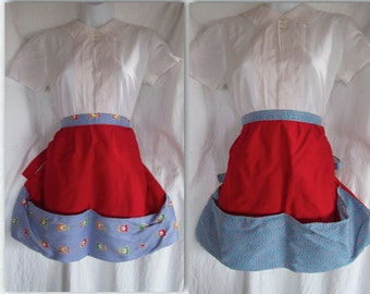 Two red and blue vintage hostess half aprons