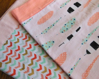 Chevron and Feathers Receiving Blankets (set of 2)