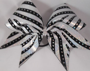 Cheer Bow White Silver Holographic Mystique black velvet w Rhinestone center by BlingItOnCheerBowz