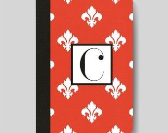 iPad Folio Case, iPad Air Case, iPad Air 2 Case, iPad 1 Case, iPad 2 Case, iPad 3 Case Red and White Fleur De Lys Pattern Monogrammed Case