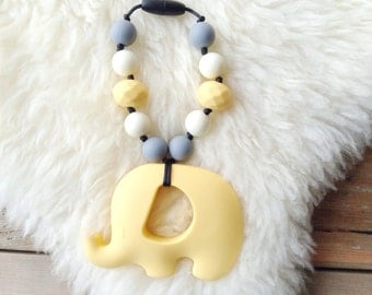 Elephant Teether, Silicone Teether, Sensory Teether, Babywearing Teether, Tula Accessory, Baby Shower Gift - Just Call Me Buttercup