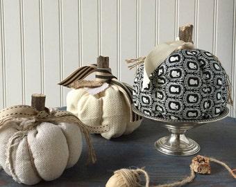 Fabric pumpkins, Neutral pumpkin, fall pumpkin, farmhouse pumpkin, Autumn Decor