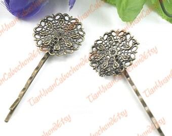 10 pcs Filigree Hairpins 25mm Brass Tone Circle Cabochon Bases 926679897