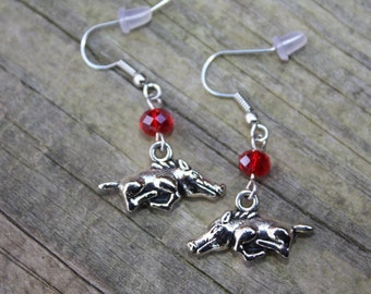 University of Arkansas Razorback earrings, Razorback earrings,  Arkansas charm, Hogs earrings, U of Arkansas