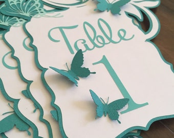 Butterfly Table Number Cards