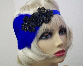 Royal Blue 1920s headpiece, Flapper headband, Gatsby headpiece, Feather headband, Downton Abbey, Rhinestone Art Deco, 1920s hair accessory