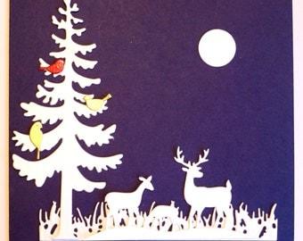 Die cut Shapes of Winter Wonderland Deer, Christmas Tree, Grass Strip, Moon& Birds