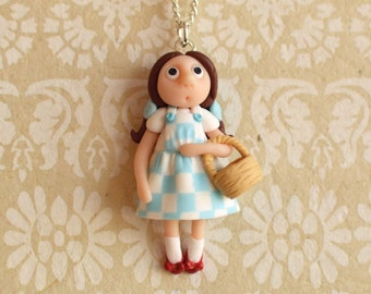 OOAK hand-sculpted Dorothy (Wizard of Oz)  pendant with chain