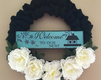 SALE Welcome To Our Nest Black Burlap Wreath with White Flowers