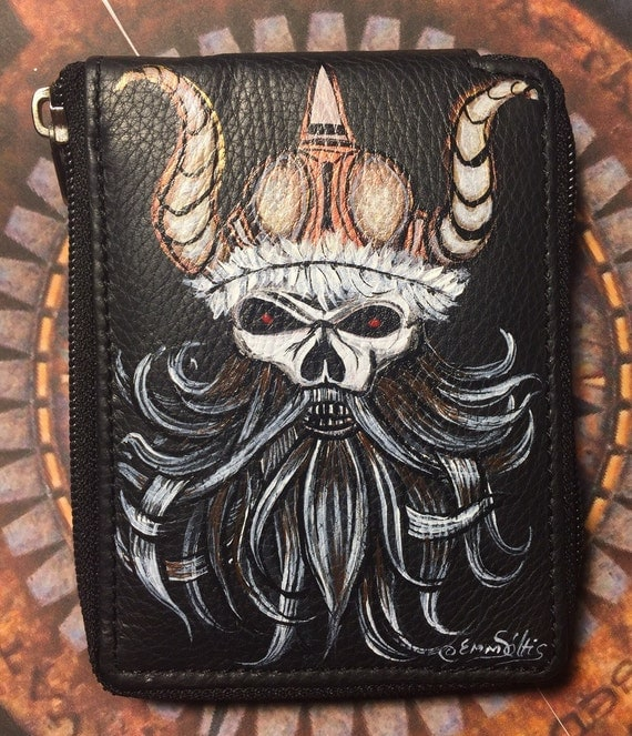 Men's wallet - Vintage style black bifold leather wallet -hand painted .