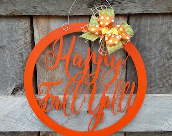 Happy Fall Y'all Door Hanger - Fall Wreath - Autumn Door Decor