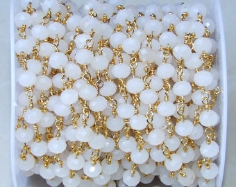 White Opalized Glass Faceted Rondelle Bead Rosary Chain - Gold Plated Wire Wrapped Rosary Chain.  5mm x 6mm Bead - Sold by the Foot