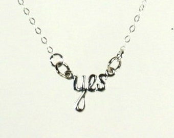 Yes Pendant Necklace, 925 Sterling Silver,, Minimalist, Stacking, 16 Inch Flat Cable Chain