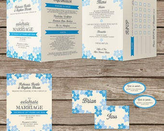 Floral, personlised, bespoke - Concertina / tri-fold wedding invitation. Blue