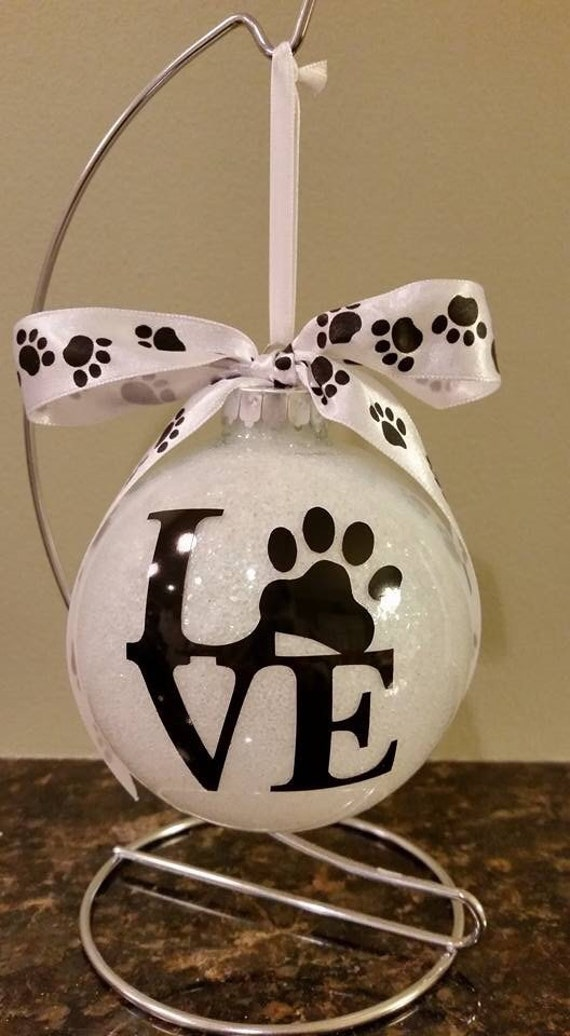 LOVE Paw Print Ornament, Personalized Glittered Pet Ornament, Dog ornament, Pet Ornament, Personalized ornament, Pet Lover gift