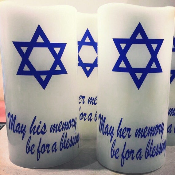Memorial Candle, Yahrzeit Flameless Memorial Candles, May his memory be for a blessing, Yahrtzeit candle, Anniversary candle, Soul candle