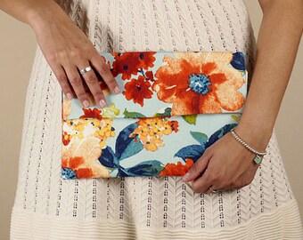 Floral envelope clutch, multicolored red blue orange flower purse, summer handbag, de almeida designs
