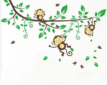Removable Wall Stickers - Monkeys swinging in a branch - AW1205