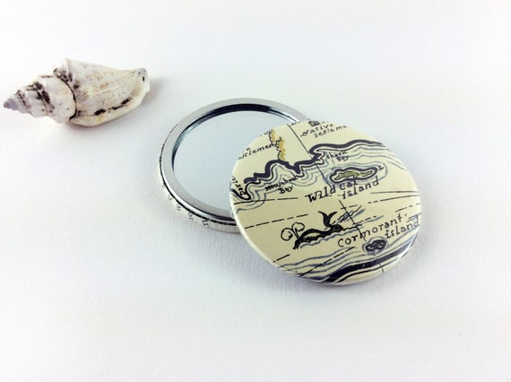 Swallows and Amazons Handbag Mirror, Pocket Mirror, Hand Mirror, Recycled book pages