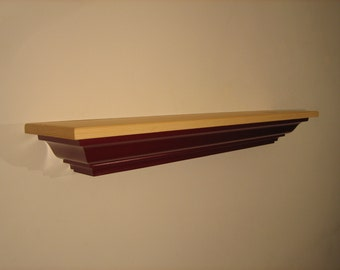 Pine Mantel Shelf In Claret Wine.