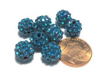 10pcs Blue Polymer Clay Rhinestone Beads Pave Disco Ball Beads - Grade A 10mm