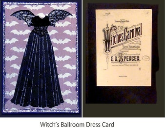 Halloween Witch's Ballroom Dress Invitation or Greeting Card
