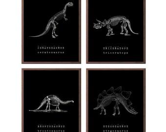 Dinosaur prints - paleontology art for kids - Kids wall art - Boys wall art - set of 4 dinosaur prints - Canvases