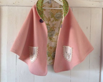 Children's Girls musk pink Cape.Made to order.