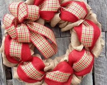 Plaid Christmas Wreath, Winter Wreath, Burlap Christmas Wreath, Hoilday Wreath, Christmas Decor
