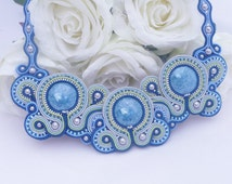Statement soutache necklace. Beaded special occasion necklace by MollyG Designs. Blue soutache jewellery.