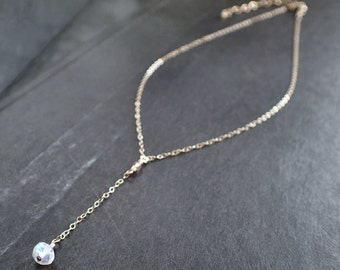 Moonstone Drop Gold Choker, Delicate Moonstone Necklace, Dainty Moonstone Lariat, Minimalist, Tiny, Faceted, Gemstone, White, Layer, Y