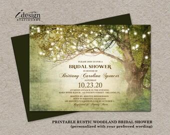 Rustic Woodland String Lights Bridal Shower Invitation | Diy Printable Tree, Outdoor, Garden, Backyard, Country Themed Wedding Shower Invite